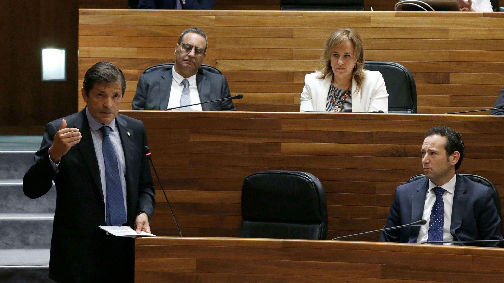 La presidenta del PP, Mercedes Fernández, durante su intervención en el pleno de la Junta General, con David González Medina, al fondo de la bancada