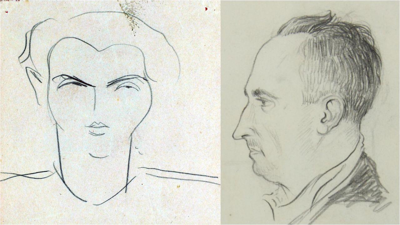 Festa da Palabra na Ínsua dos poetas.Federico García Lorca e Ánxel Casal, debuxados por Luís Seoane e Camilo Díaz Baliño, respectivamente.