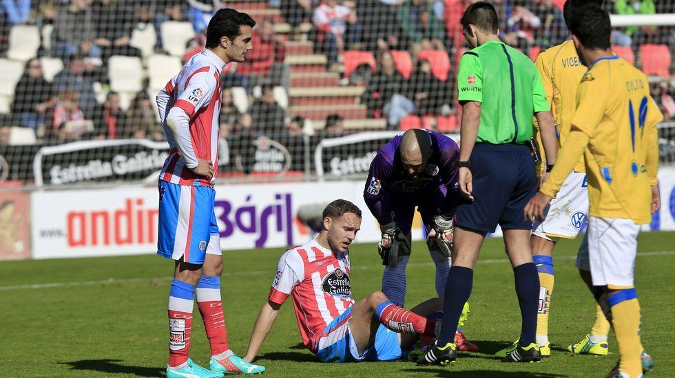 Diego Seoane se lesionó durante el partido contra Las Palmas.