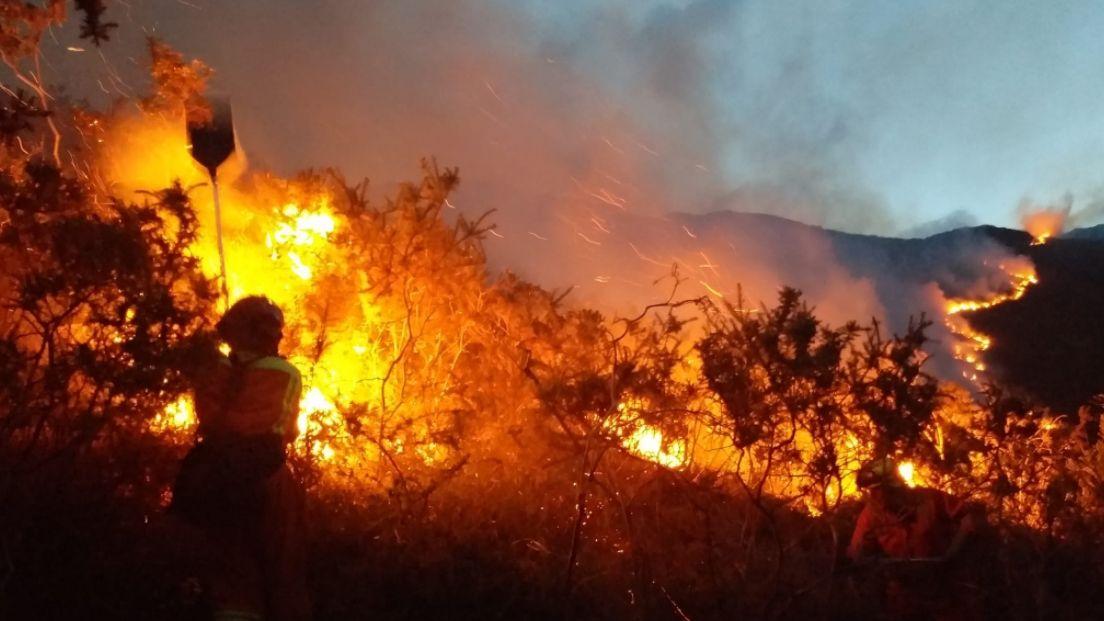 Los Bomberos del Servicio de Emergencias del Principado de Asturias (SEPA) controlando un incendio