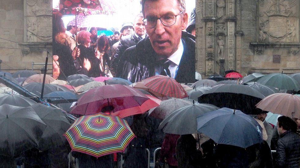 Tecnología moderna. Un mar de cientos de paraguas cubrió la plaza del Obradoiro, donde el público siguió el acto por una pantalla gigante