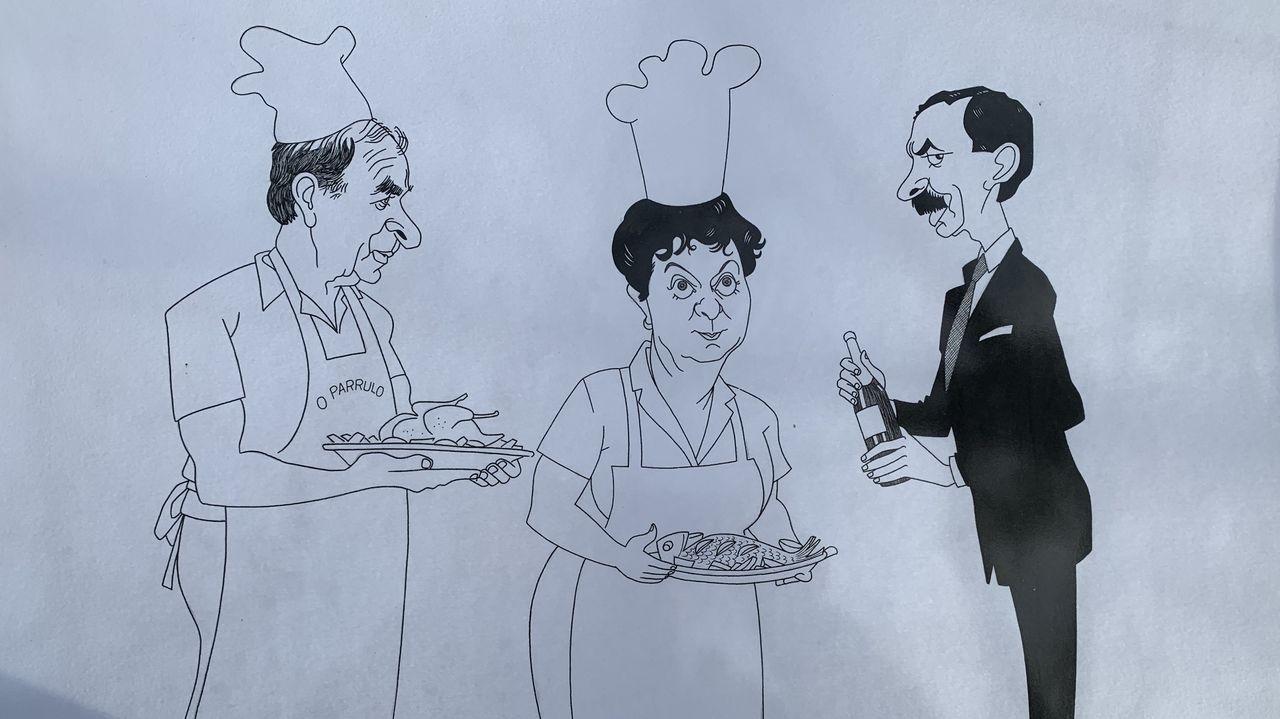 El gran dibujante y humorista Siro hizo esta caricatura de Parrulo y Celestina, esperando que les sirva su hijo Julio