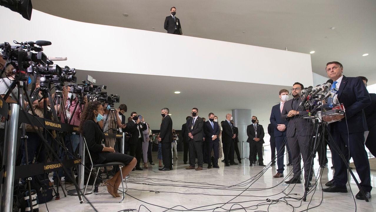 El presidente Bolsonaro, en una conferencia de prensa este miércoles en el palacio do Planalto