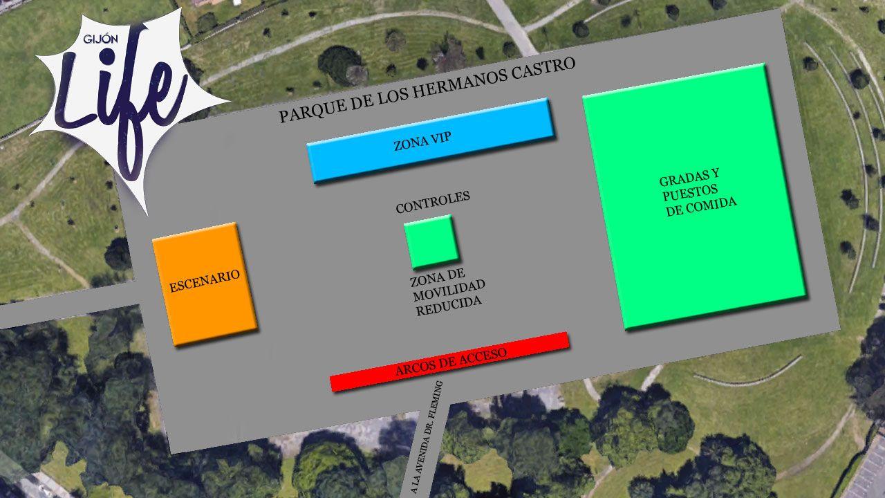 ...y Gijón volvió a los 90.Distribución de los espacios en la explanada del parque Hermanos Castro para el festival Gijón Life