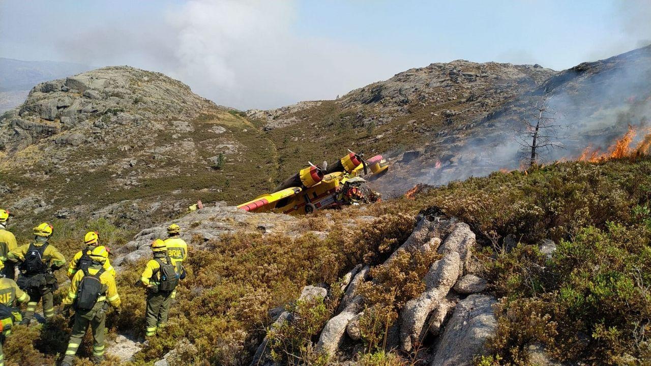Accidente de un avión de extinción de incendios portugués enel Xurés