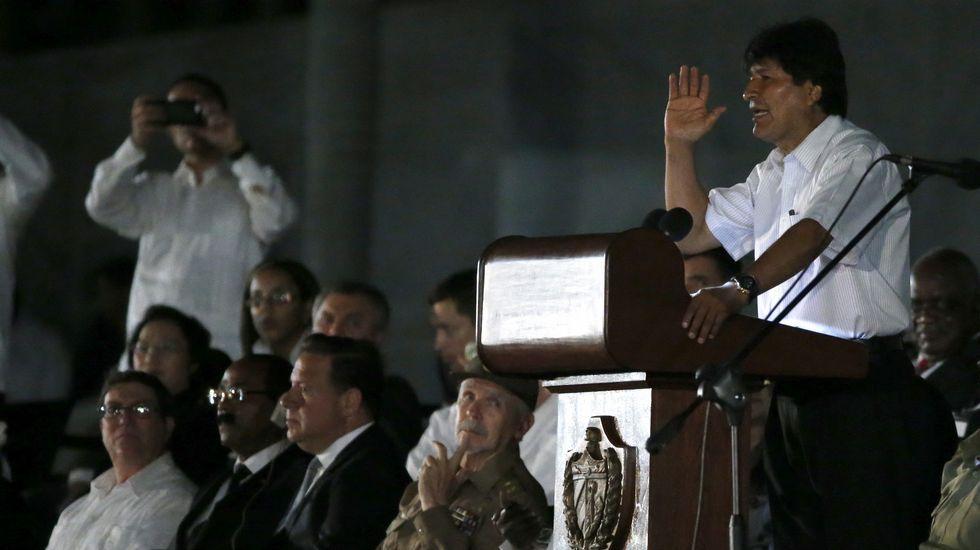 El presidente de Bolivia, Evo Morales, en el funeral de Fidel Castro