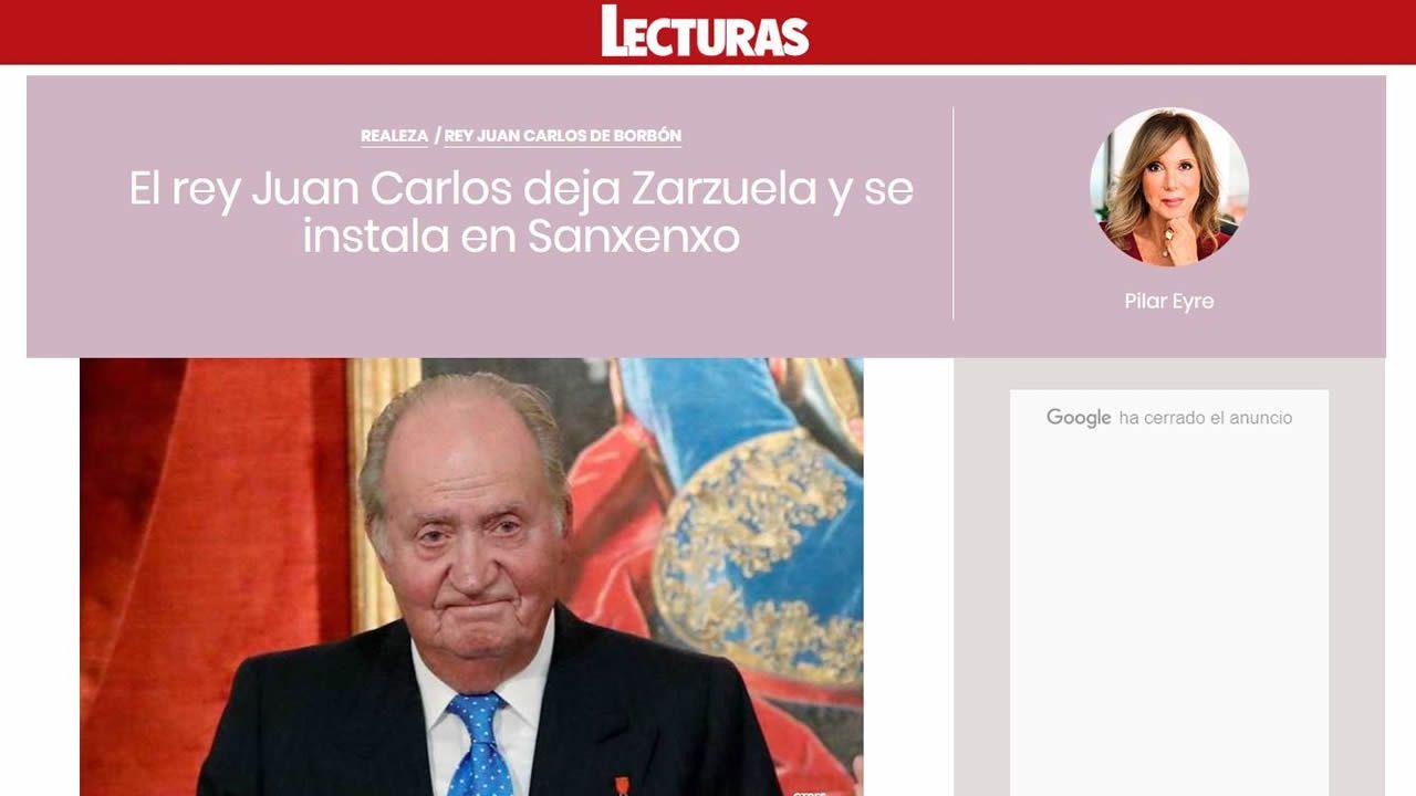 Pantallazo del blog de Pilar Eyre en Lecturas que sitúa al rey Juan Carlos en Sanxenxo