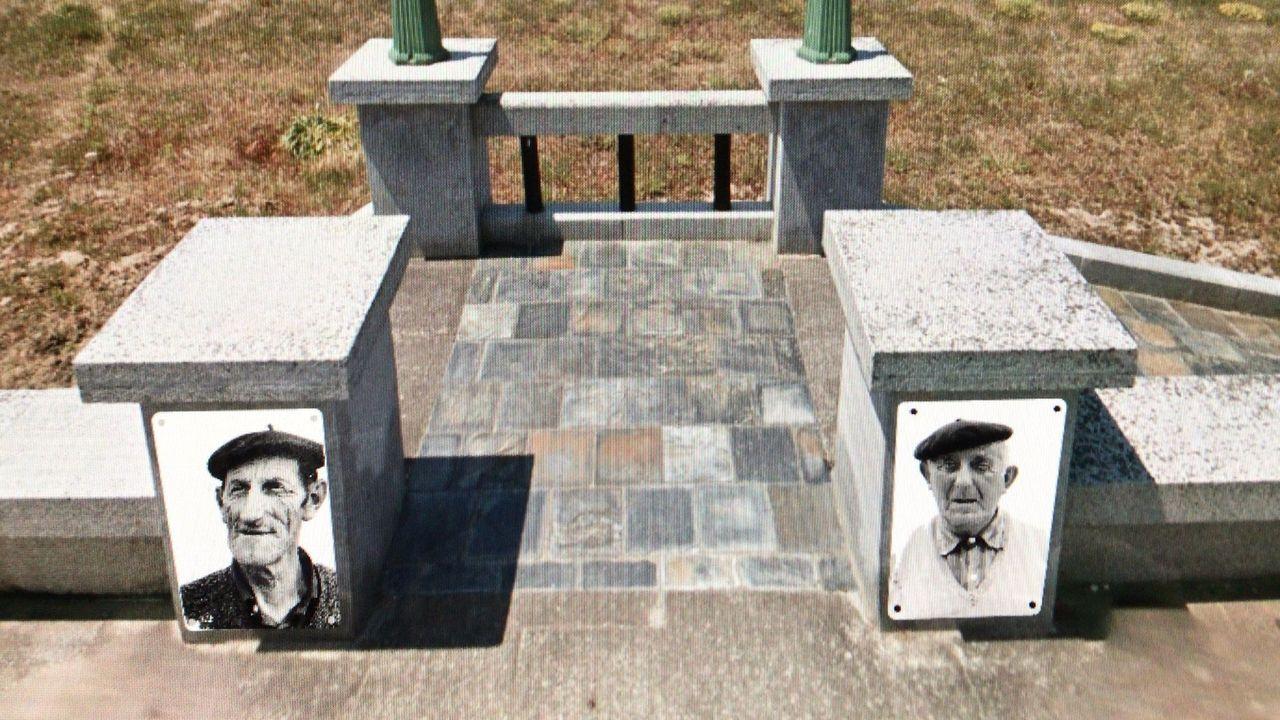 Montaje virtual de los retratos de los hermanos Pataquiña y Agapito, dos de los que ya ha pintado, en la base de las farolas del paseo