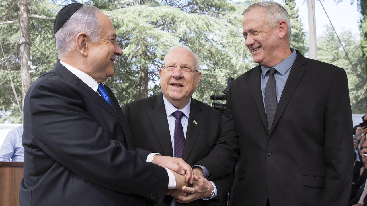 Netanyahu, el presidente Rivlin y Gantz ,en un acto en honor de Simón Peres el pasado septiembre