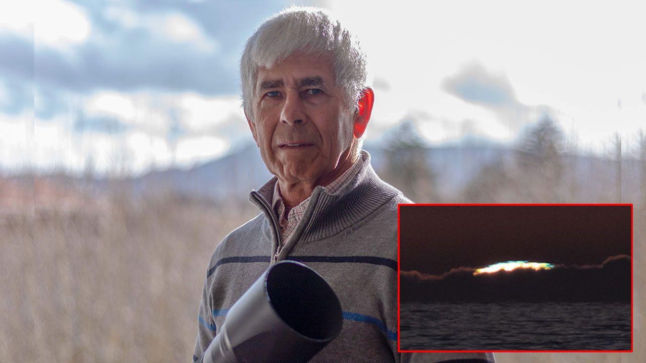 adrian.Antonio Costa, fotógrafo que consiguió capturar desde A Lanzada un rayo azul durante la puesta de sol