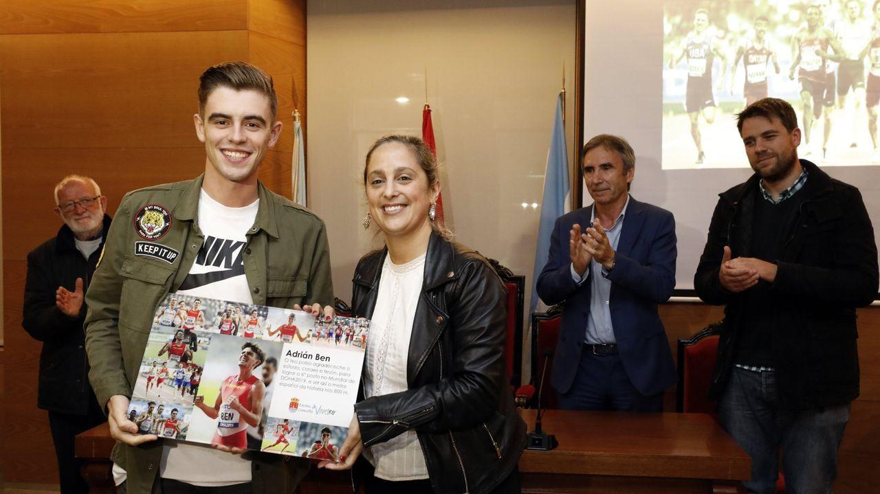 Viveiro vibra con Adrián Ben.Ben fue homenajeado en el Concello de Viveiro tras su sexto puesto en el Mundial de Doha 2019