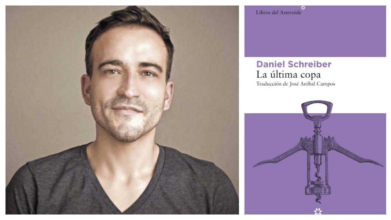El escritor alemán Daniel Schreiber (1977) junto a la portada de la edición española de su libro «La última copa»