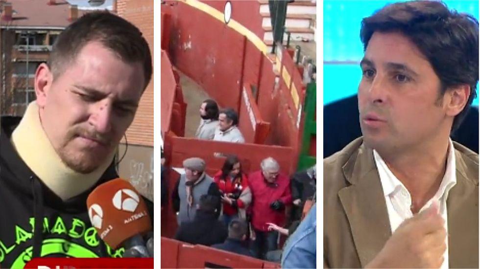 Fran Rivera a un antitaurino: «Saltando a la plaza ponéis en riesgo la vida del torero al mil por mil».Alfonso Álvarez-Cascos junto a los Gemeliers