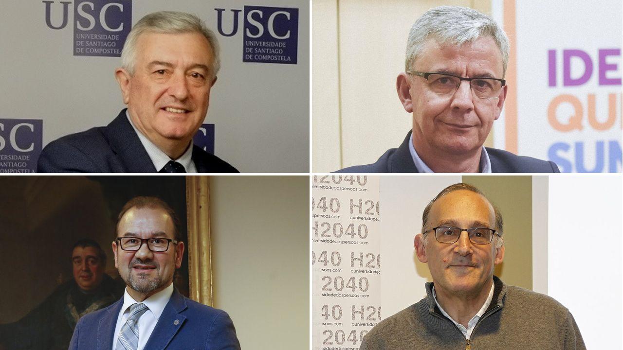 José María Paz: «Hace falta el gasoducto para unir Galicia con la Meseta».De arriba a abajo, y de izquierda a derecha, Juan Viaño, Emilio Fernández, Antonio López y Manuel Reigosa