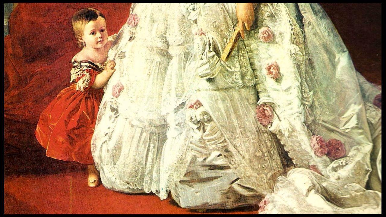 Detalle del retrato de la reina Isabel II y la infanta Isabel realizado por el pintor alemán Winterhalter en 1852, cuando la heredera contaba un año de edad
