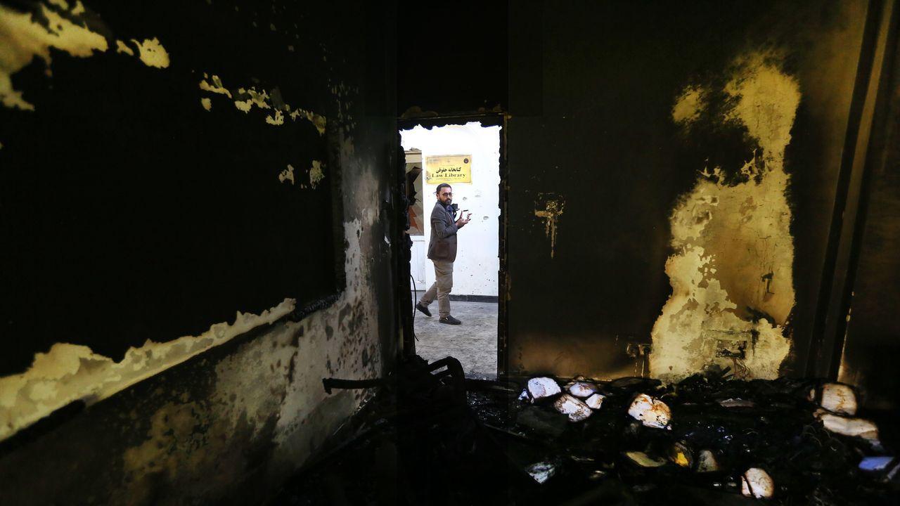 cica.Estado en el quedó una de las aulas tras el atentado contra la Universidad de Kabul