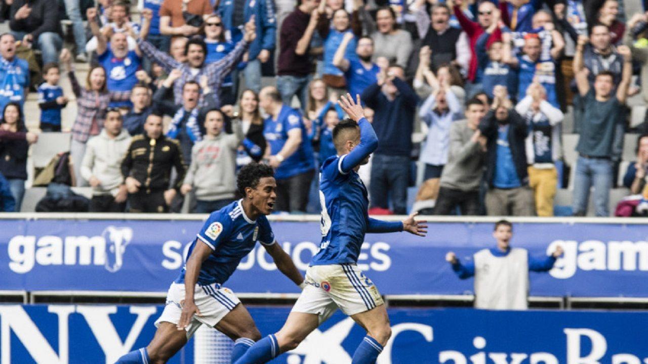 Gol Tejera Barcenas Real Oviedo Lugo Carlos Tartiere.Sergio Tejera celebra su gol frente al Lugo