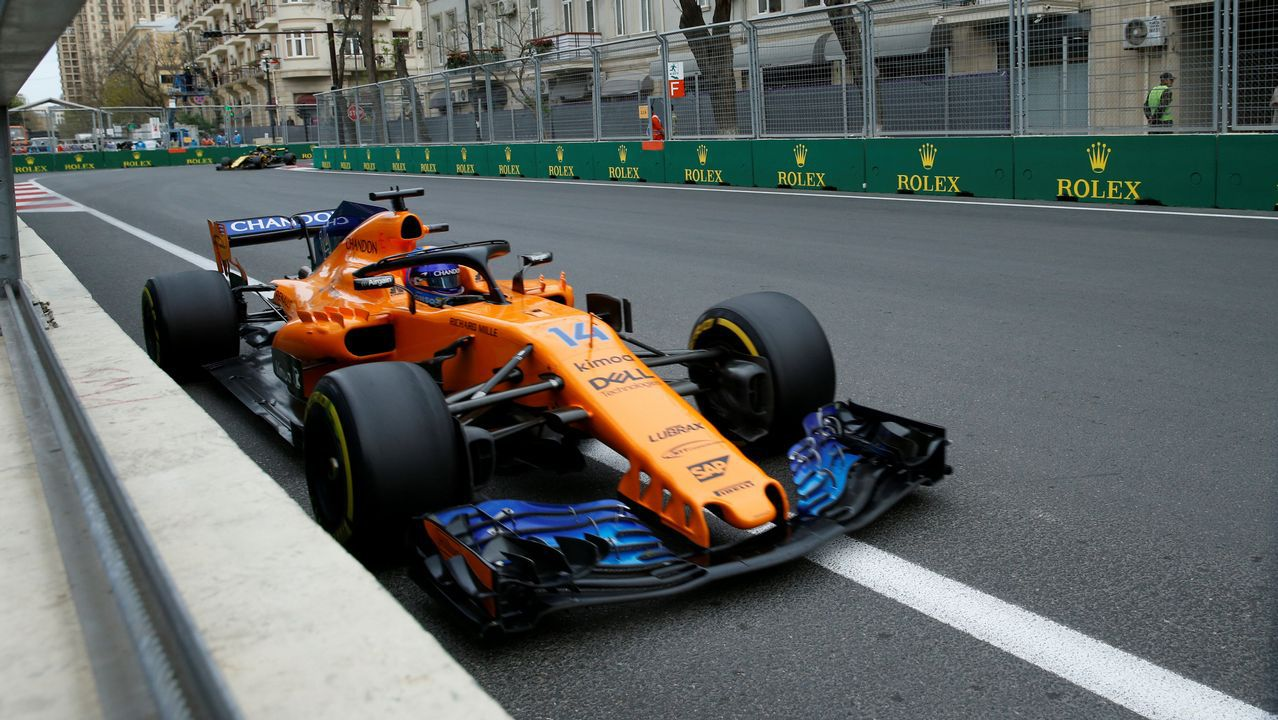 Azerbaijan Grand Prix - Baku City Circuit, Baku, Azerbaijan - April 29, 2018   McLaren's Fernando Alonso in action during the race