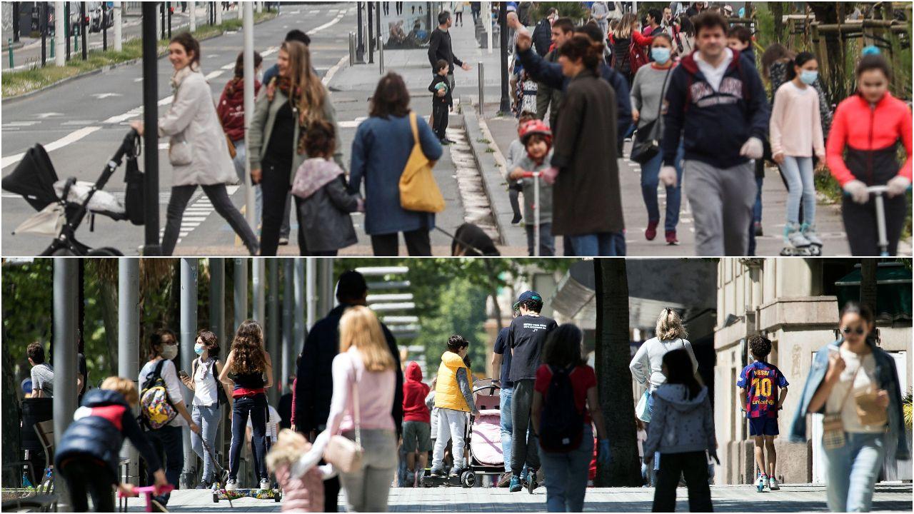 En la parte superior, una imagen del paseo de la Zurriola de San Sebastián tomada este domingo. Abajo, la diagonal de Barcelona llena de gente