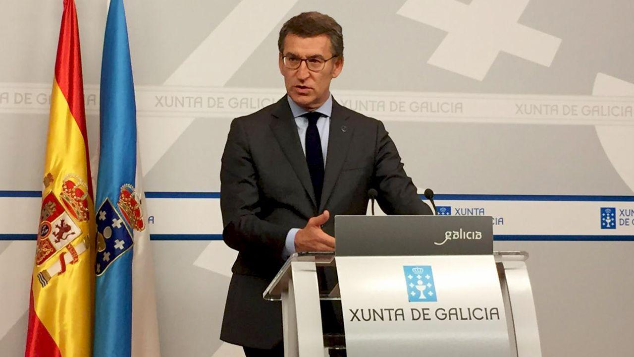 Feijoo, este lunes, durante su comparecencia para anunciar la convocatoria de elecciones autonómicas