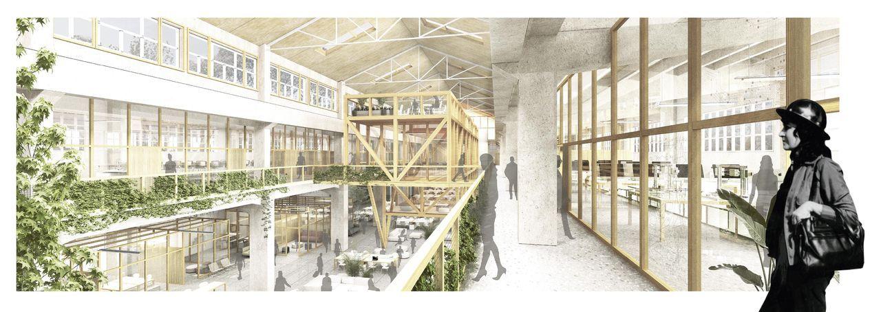 Recreación desde la entreplata en la que se aprecia la hegemonía de la madera como material primordial. A la derecha, la arquitecta italobrasileña Lina Bo Bardi (1914-1992), inspiradora del proyecto