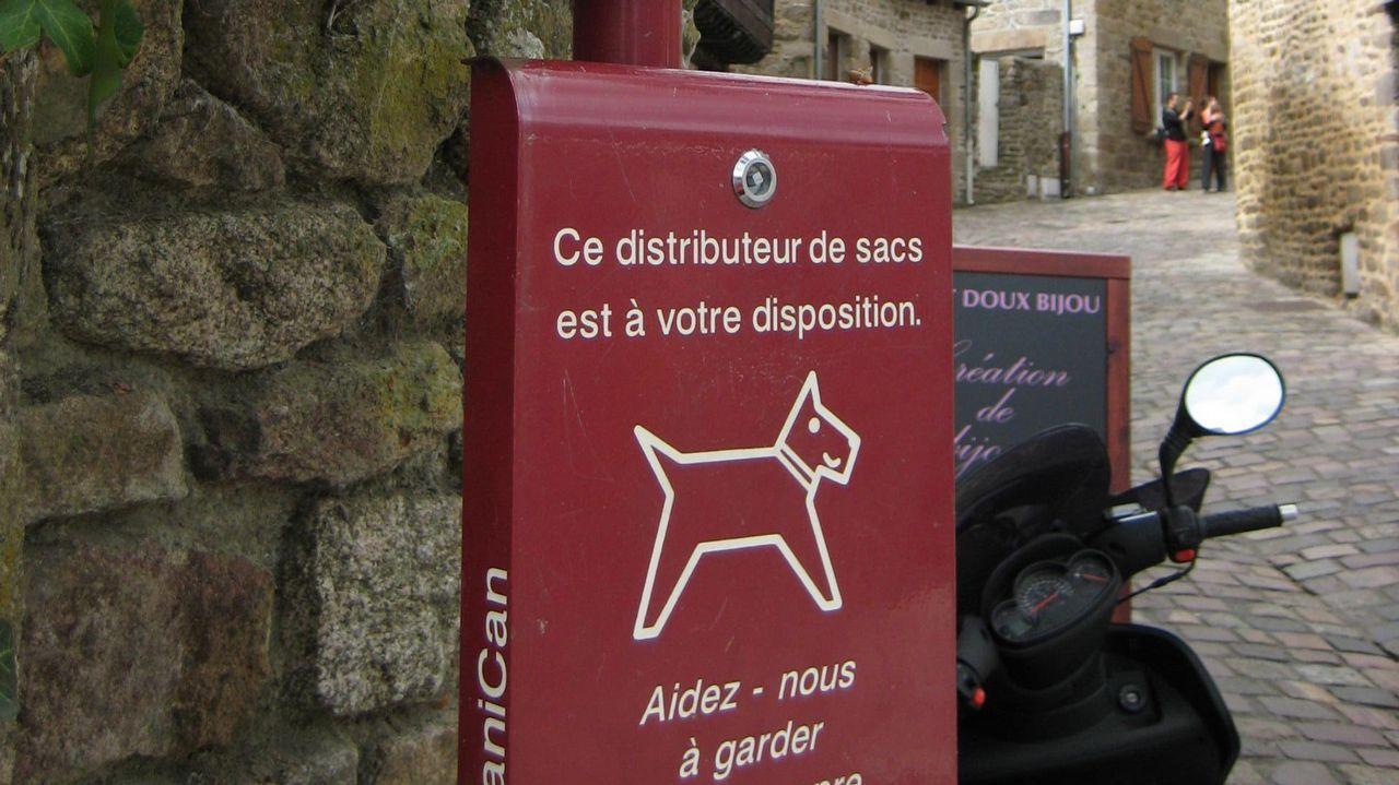 Papelera con bolsas para la recogida de excrementos de perros en Dinán, Bretaña