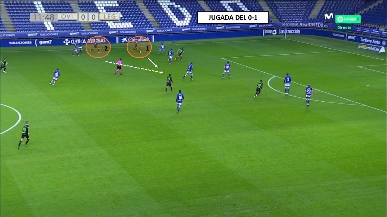 La jugada acaba en la izquierda. 1-Rubén Pardo escorado, generando la superioridad y encarando a Nieto. 2-Javi Hernández, autor del gol, avanza y Sangalli no persigue la marca