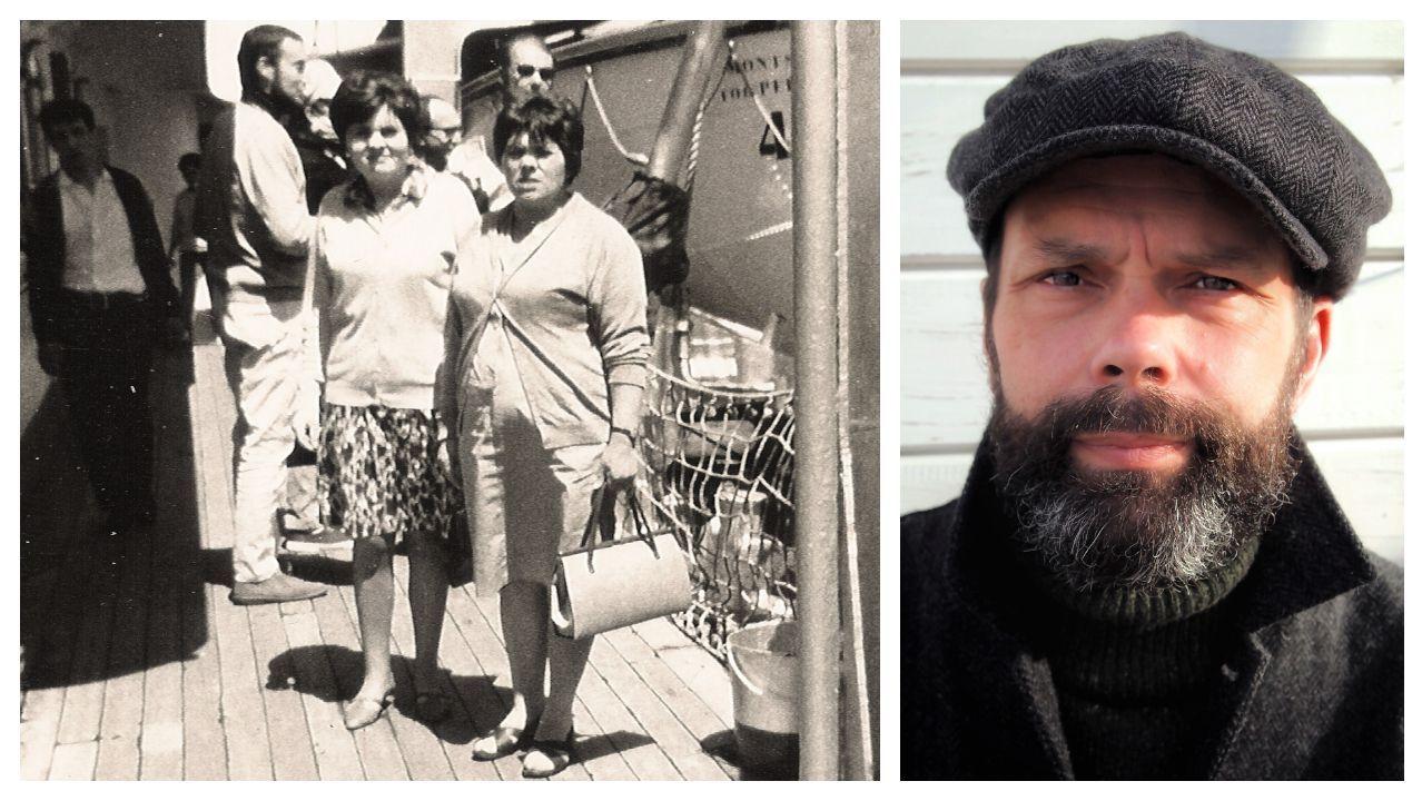 Á esquerda, Isabel e Virtudes —respectivamente, nai e avoa materna de Xesús Fraga, escritor e xornalista de La Voz de Galicia—, na cuberta do barco de pasaxe Monstserrat, na primeira das viaxes que fixo Isabel ás illas británicas. Botaba a andar a aventura na emigración da nai de Fraga —á dereita, nunha foto tomada por Ana Couceiro—, quen, por certo, deu en nacer en Londres