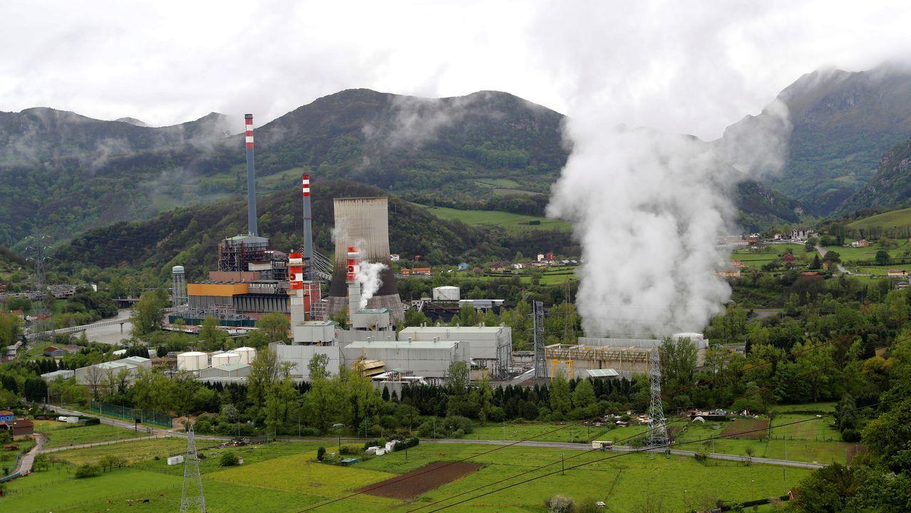Vista de la central térmica de Soto de Ribera, de la eléctrica EDP