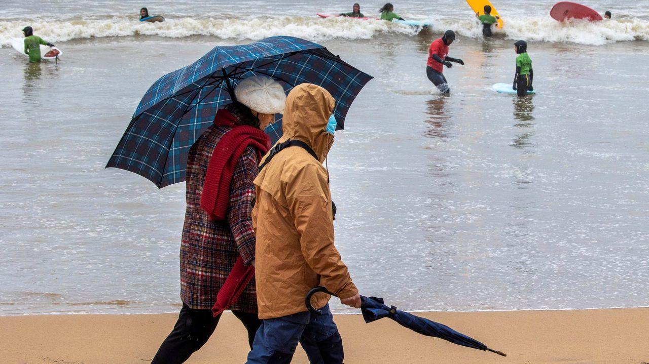 Dos personas pasean por la playa de San Lorenzo de Gijón