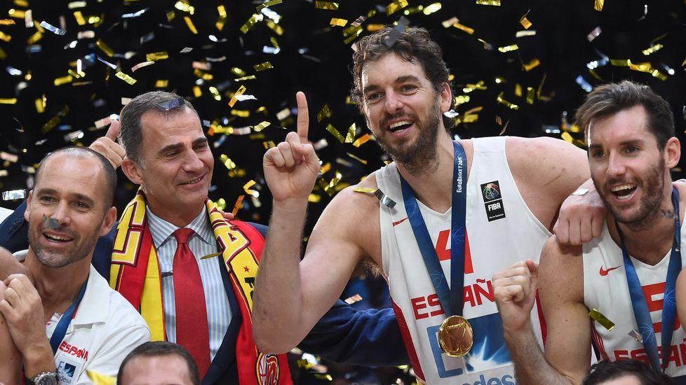 La celebración del equipo española tras vencer el Eurobasket del 2015