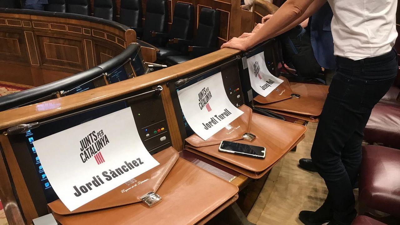 Sitios reservados para los presos de Junts en la sesión constitutiva del Congreso