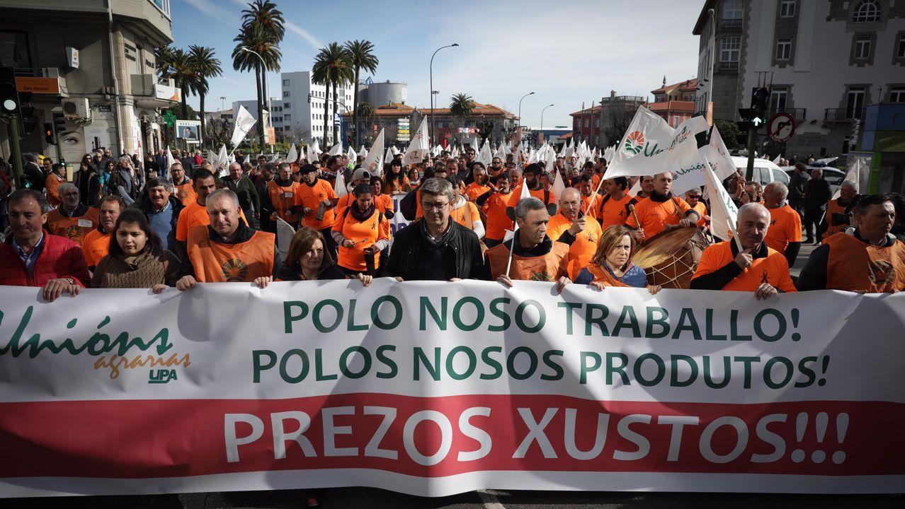 Así fue la manifestación de los ganaderos y agricultores en A Coruña