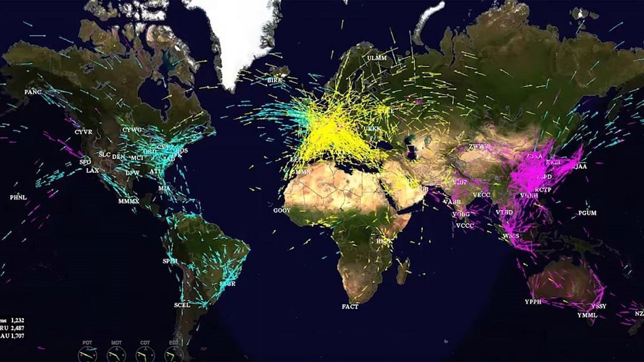 El tráfico aéreo mundial, en un minuto.Alumnos de primero de ESO de Maristas