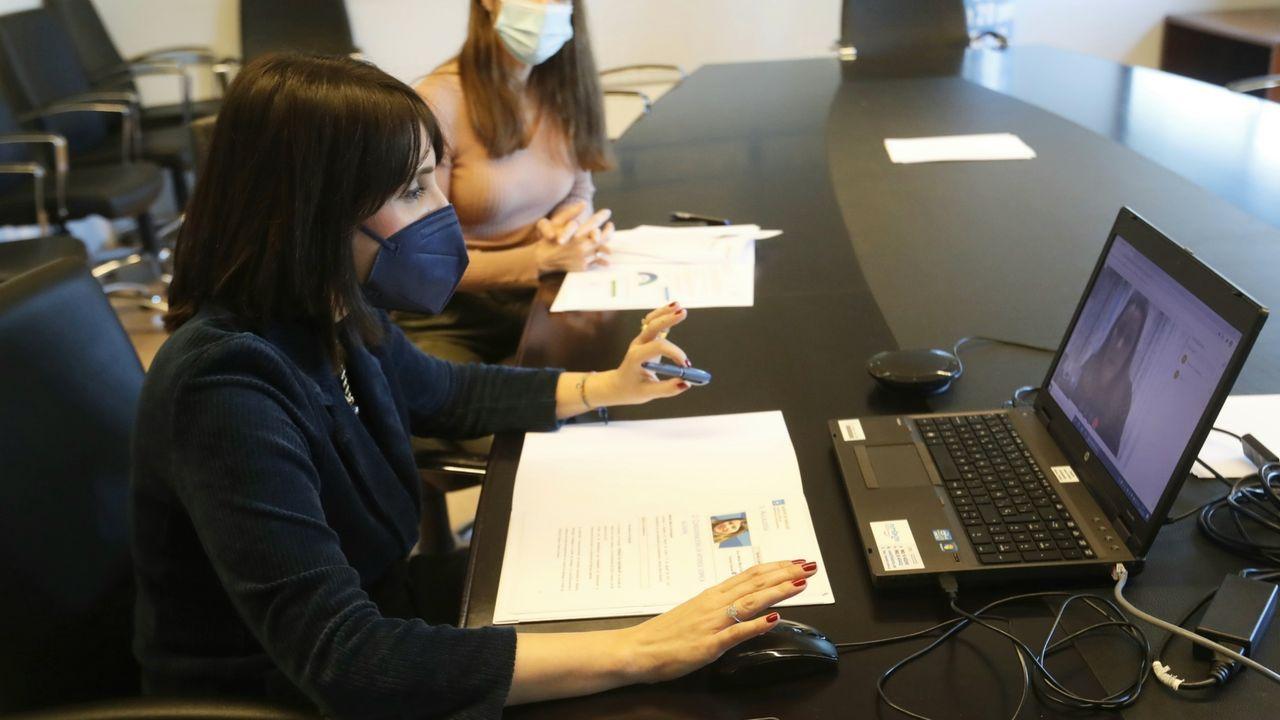 Reunión de la conselleira de Emprego y la alcaldesa de Vilariño de Conso por videoconferencia
