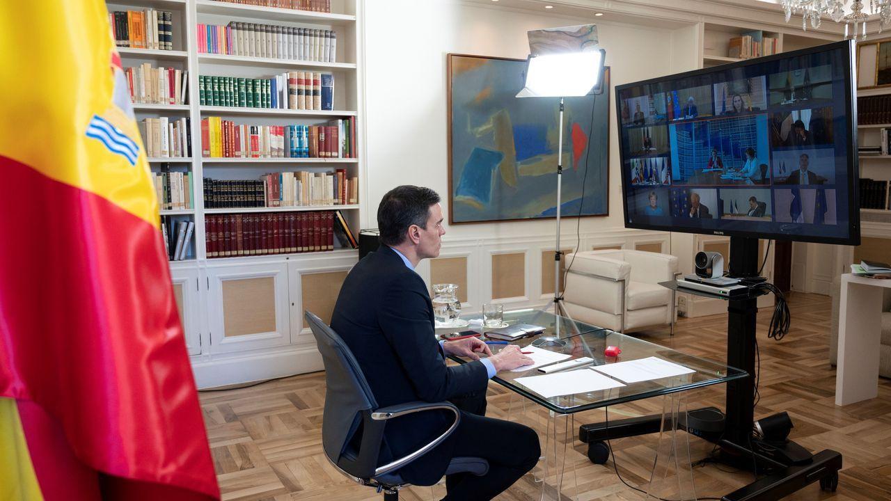 La compra en casa en Monforte con la Cruz Roja.El presidente del Gobierno, Pedro Sánchez, en la videoconferencia del Consejo Europeo que se celebró este jueves