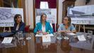 Isabel Pardo de Vera, Lara Méndez y Ether Vázquez en la firma del convenio de la estación Intermodal de Lugo