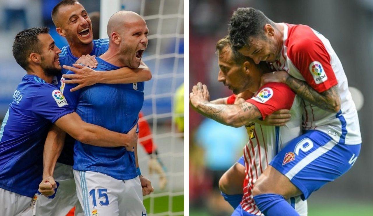 Las jugadoras azules celebran un tanto ante el Seagull.Saúl Berjón durante el Real Oviedo-Numancia