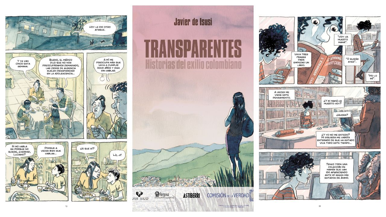 Portada e interiores de «Transparentes. Historias del exilio colombiano»