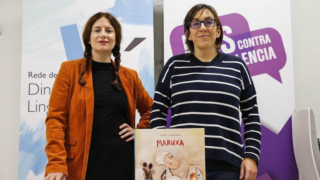 Ourense contra la violencia machista. Javier Infantes, responsable Serhs foods Oviedo, y Belén Suárez Prieto, organizadora de las meriendas-cenas solidarias