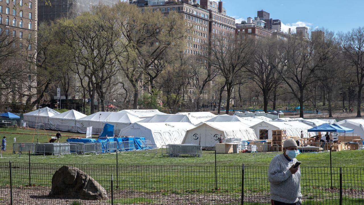 Hospital de campaña montado en Central Park, Nueva York