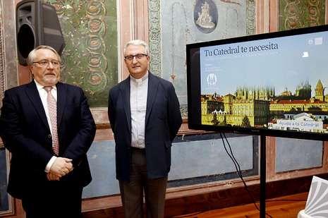 Francisco Domínguez y Daniel Lorenzo, ayer, en la presentación del plan de mecenazgo