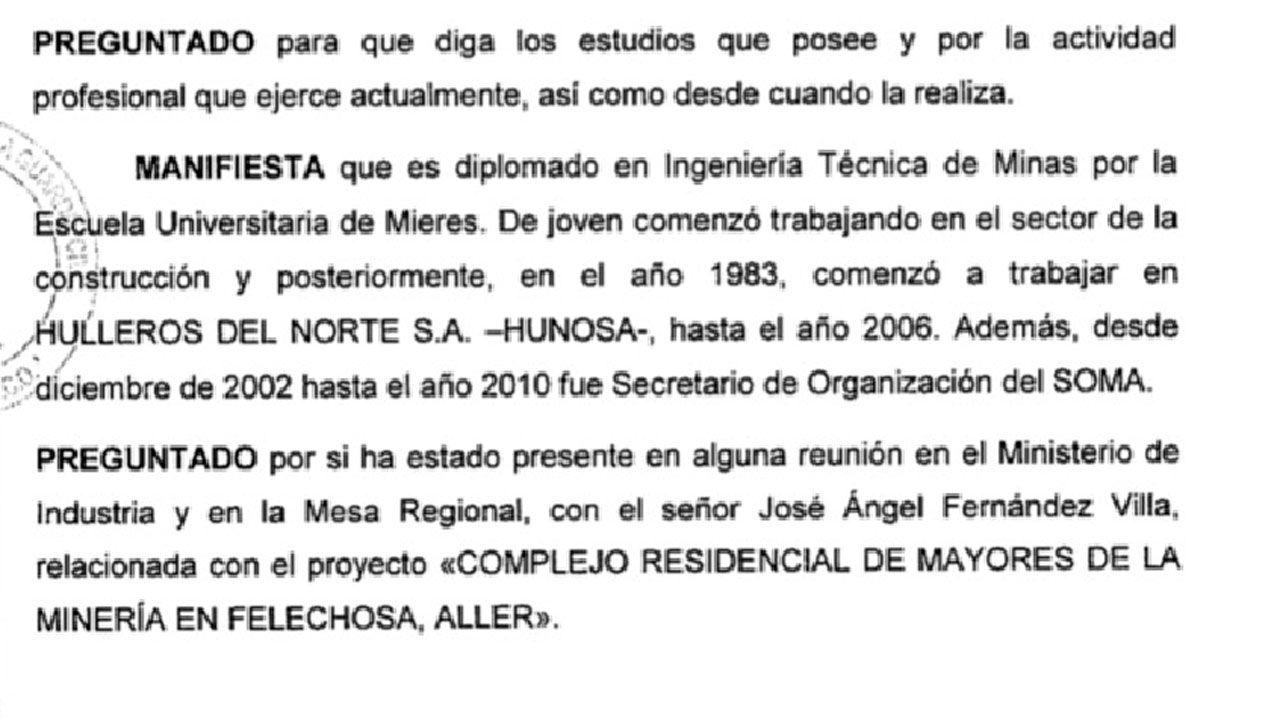 Fragmento de la declaración de Armando Fernández Natal ante la UCO