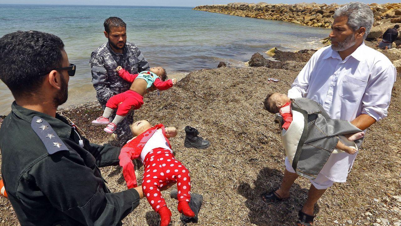 El barco Open Arms llega al Puerto de Barcelona.Los tres bebes que murieron tras el naufragio de una embarcación hinchable frente a las costa libia