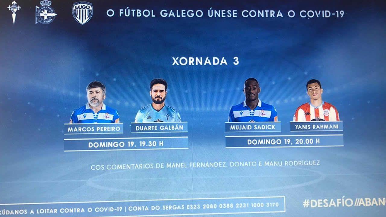 Sigue la final entre Celta, Dépor y Lugo del torneo solidario de FIFA de Abanca.Ziganda da instrucciones mientras se produce el cambio de Borja Sánchez por Berjón