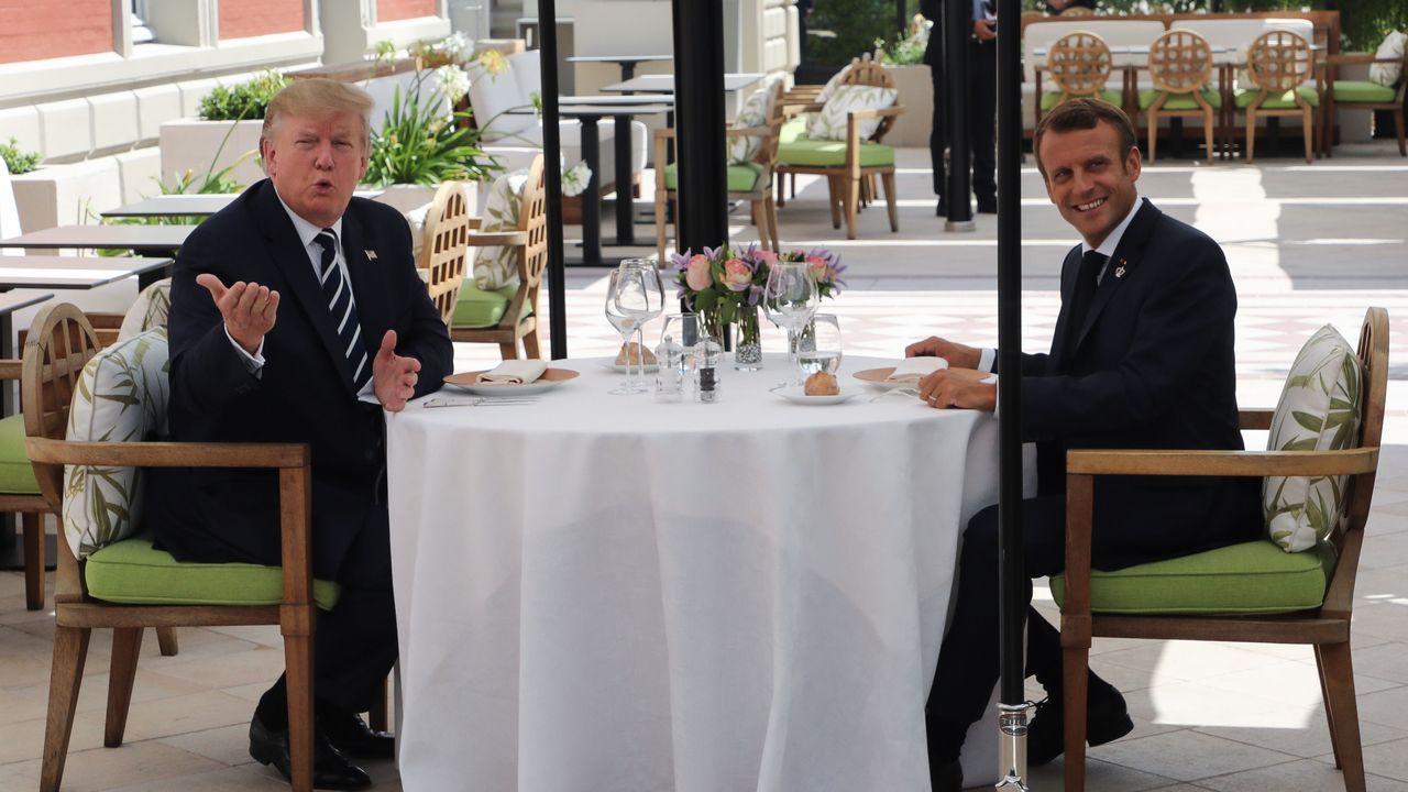 Trump y Macron, durante el encuentro previo a la cumbre del G7 en la localidad francesa de Biarritz
