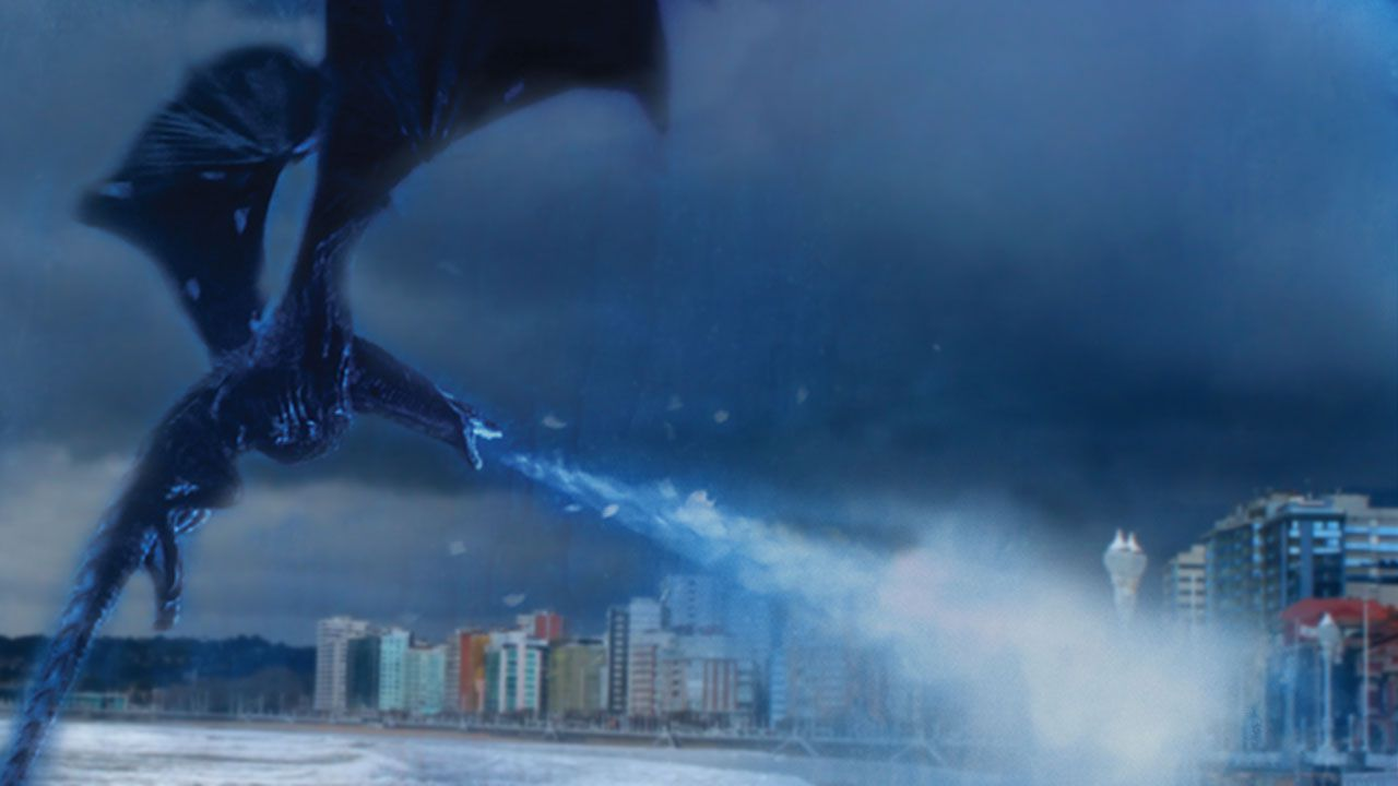 El Rey de la Noche atacando el Muro (de San Lorenzo) en un fotomontaje
