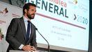 Pa blo Casado, este martes, en la asamblea de la Confederación Empresarial de Madrid