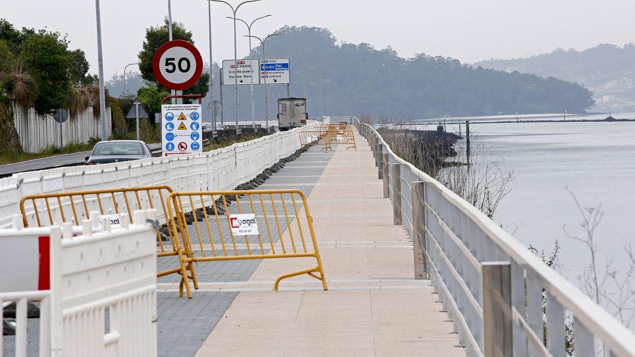Obra ya rematada de la ampliación del paseo peatonal entre Pontevedra y Marín
