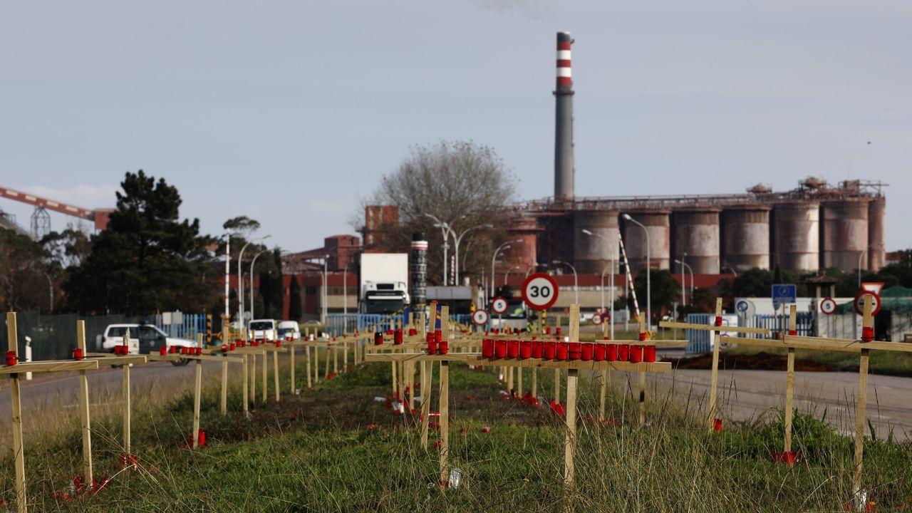 Celebrando la anulación del ERE. Alcoa.Trabajadores de la fábrica de aluminio de San Cibrao movilizándose ante la factoría
